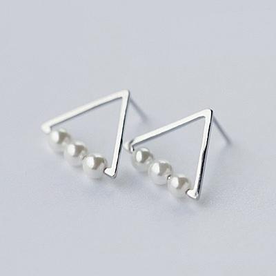 925純銀耳環(耳針式)-時尚三角珍珠生日情人節禮物女飾品73dr128【時尚巴黎】