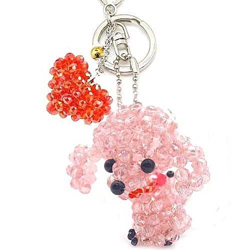熱情洋溢粉紅貴賓水晶串珠包包掛飾鑰匙圈