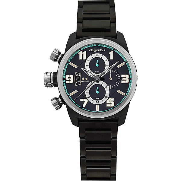 elegantsis Army 叢林戰鬥強悍三眼計時腕錶-IP黑/43mm ELJF48KS-OB02MA
