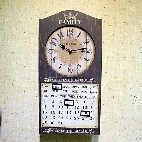 歐式複古靜音客廳萬年曆掛鐘田園美式木制鐘表時尚創意時鐘掛表 -71953004