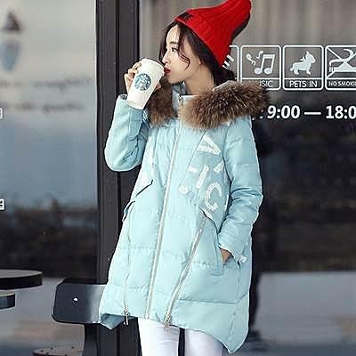羽絨外套 中長款-韓版貉子毛領修身顯瘦女外套4色72i7【巴黎精品】