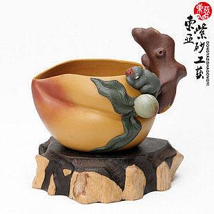 紫砂杯 全手工猴子壽桃公道杯 250毫升