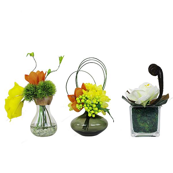 現代簡約客廳餐桌模擬盆景假花套裝家居裝飾品模擬花藝套裝擺件 -639