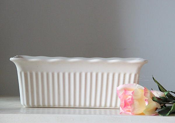 乳白色長方形波浪邊彩繪陶瓷 烤具