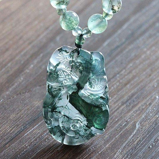 手工水草瑪瑙長款時尚百搭複古水晶如意項鏈