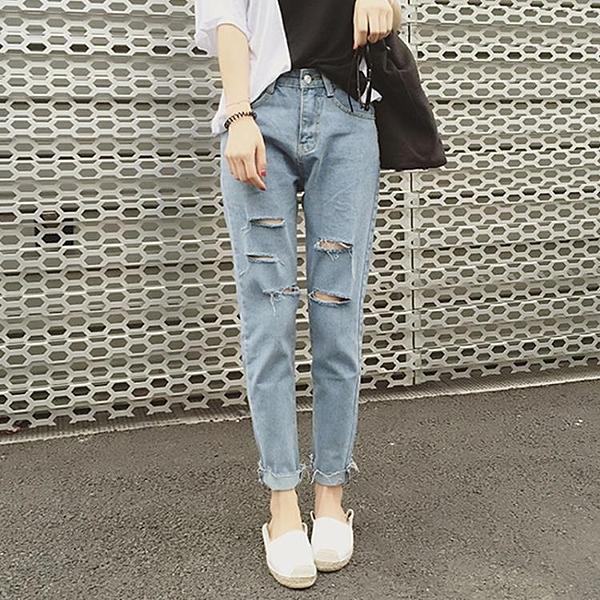 [超豐國際]春裝學院風寬松顯瘦破洞牛仔褲女哈倫褲九分褲長褲潮1入