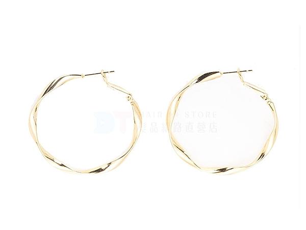 金色 不規則圓 耳針 耳環【DT STORE】【0026248】