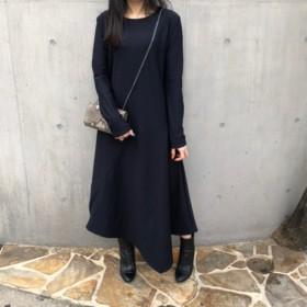 【ASYMMETRIC LONG DRESS】color: dark navy