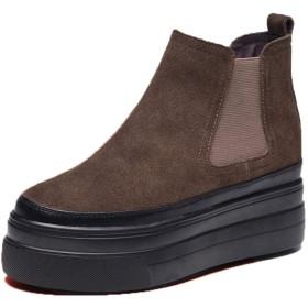 [サニーサニー] ブーティー ショートブーツ 厚底靴 インヒール 歩きやすい サイドゴア 可愛い アンクル丈 安定感 滑り止め オシャレ 身長UP 美脚 安定感カジュアル コンフォート 快適 ラウンドトゥ ブラウン・ボア付き