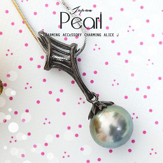 日本AKOYA黑珍珠造型圓珠墜 項鍊