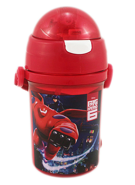 【卡漫城】 大英雄兵團 水壺 400cc 紅 ~ 兒童 提帶 彈力 吸管 水杯 Big Hero 6 杯麵 大白 神醫