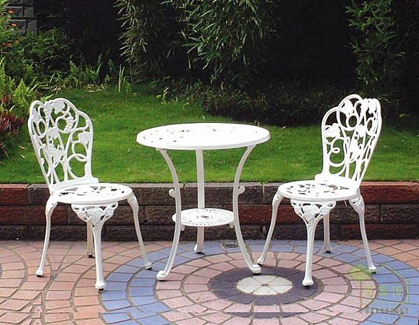 [家事達] 台灣OA-528-6/7 雙人半鋁合金葡萄圓桌椅組 休閒椅