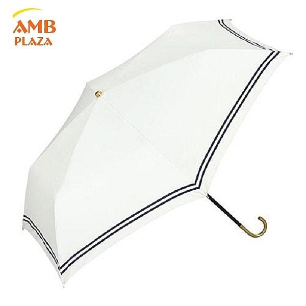 日本W.P.C. 白底滾藍邊金把手抗UV晴雨兩用折傘