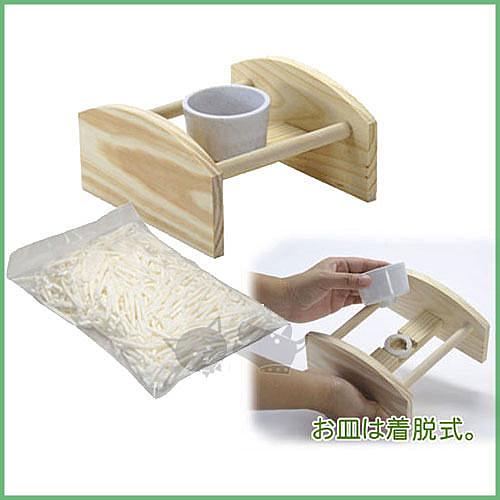 * KING WANG *日本Sanko《成雛鳥兩用學吃盤#804》(含架子)天然原木製