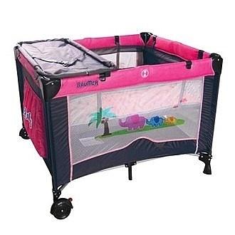 寶盟BAUMER 親子象遊戲床(玫瑰紅)含雙層架+尿布台