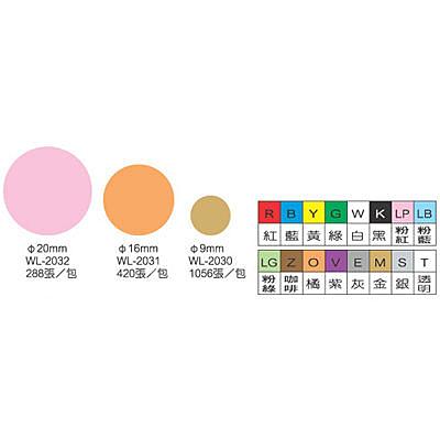 彩色圓點標籤2032透明20mm 250PS