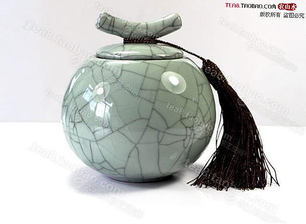 高檔青瓷開片哥窯茶葉罐 陶瓷 冰裂釉