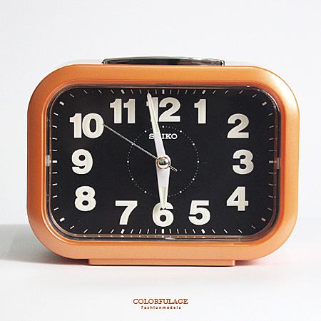 SEIKO精工鬧鐘 圓弧長方型橘色大聲公鬧鐘 滑動式秒針 夜光功能 柒彩年代【NV1754】原廠公司貨