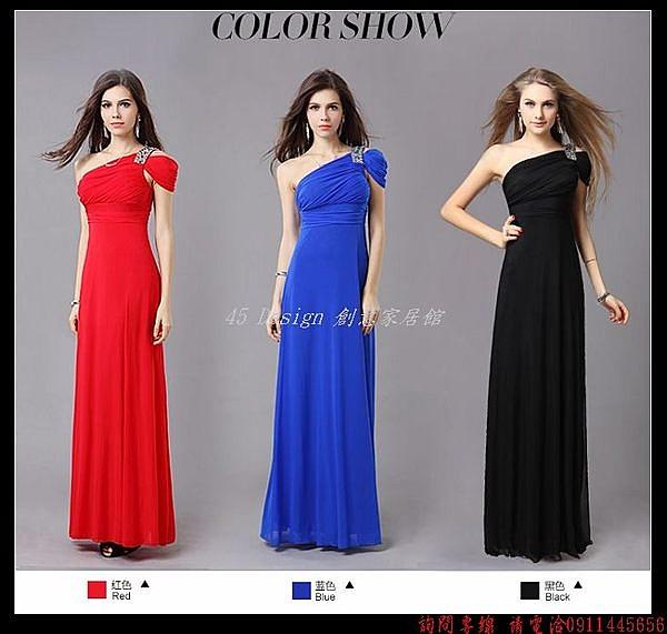 (45 Design  )   7天到貨  單肩禮服 新娘敬酒服 伴娘裙 演出服 顯瘦短袖 多種顏色