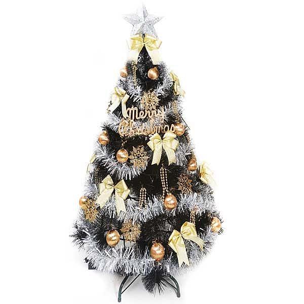 【摩達客 】台灣製6尺(180cm)特級黑色松針葉聖誕樹 (金銀系配件)(不含燈)