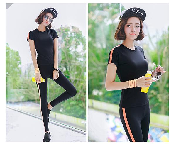 韓國春夏新款瑜伽服套裝套女短袖背心休閒運動跑步健身喻咖服   -cmx0053