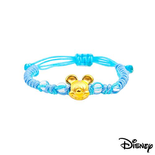 Disney迪士尼金飾 夢想米奇 黃金中國繩手鍊-海水藍