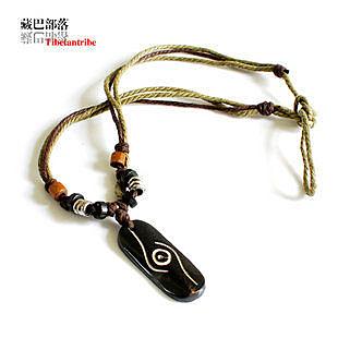 藏飾圖案慧眼護身犛牛骨墜繩編項鏈