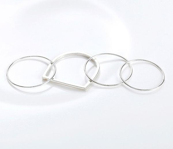 正韓圓形組合純銀戒指~夏綠蒂didi-shop