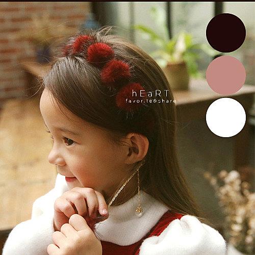 絨毛球垂墜鍊條髮箍 兒童髮飾 髮箍 造型髮箍