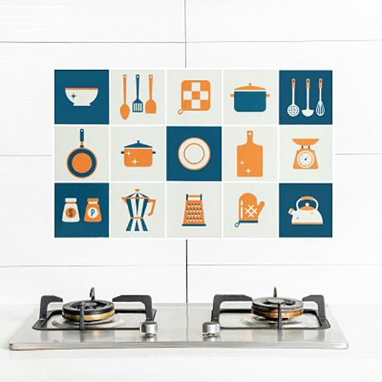 印花卡通防油壁貼 自黏 耐高溫 防油污 貼紙 家用 灶台 磁磚 牆貼【M181】米菈生活館