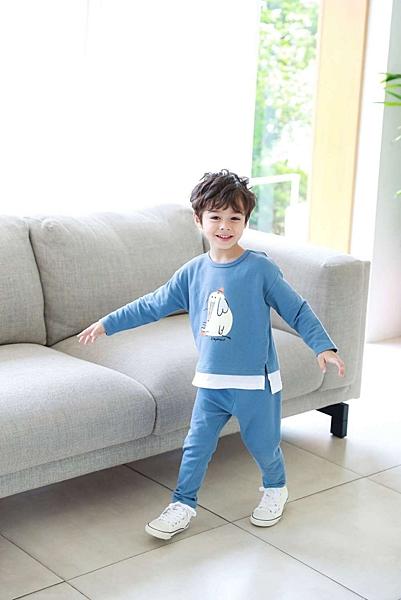 【北投之家】男童睡衣套裝 秋天日常服上衣+長褲 藍象象 | 正韓童裝 (兒童/小孩/小朋友/幼童/男童)