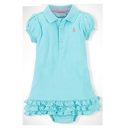 女寶寶洋裝二件組 裙擺短袖洋裝+內褲 藍粉 | Polo Ralph Lauren童裝 (嬰幼兒/兒童/小孩)