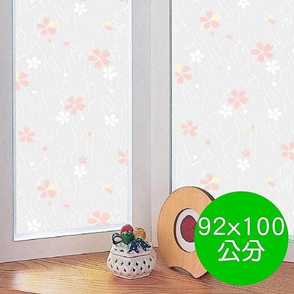 日本製造 MEIWA 節能抗UV靜電無背膠窗貼 (日式小花) - 92x100公分