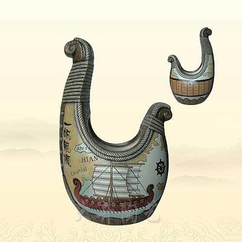陶藝禮品工藝品哥倫布號一帆風順花瓶裝飾品