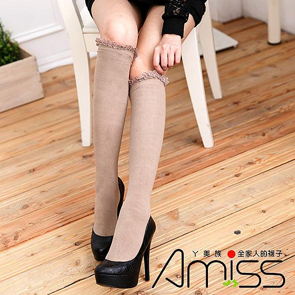 Amiss【B703-18】日系少女棉織蕾絲中統襪(2色)