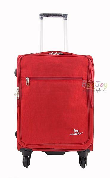 YUE HUSKY 超輕量皺皺布24吋行李箱(YU-7024紅)