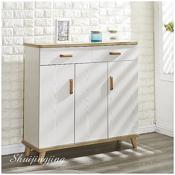 【水晶晶家具/傢俱首選】JF0757-3維尼100×33cm白木紋二抽三門鞋櫃