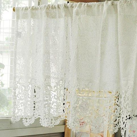 可愛時尚田園蕾絲門簾733 廚房半簾 咖啡簾 窗幔簾 穿杆簾 (120cm寬 *45cm高) 風水簾