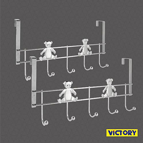 【VICTORY】可愛熊鍍鉻門後五掛鉤(2入)#1326005 免施工 門後掛勾 門後掛架