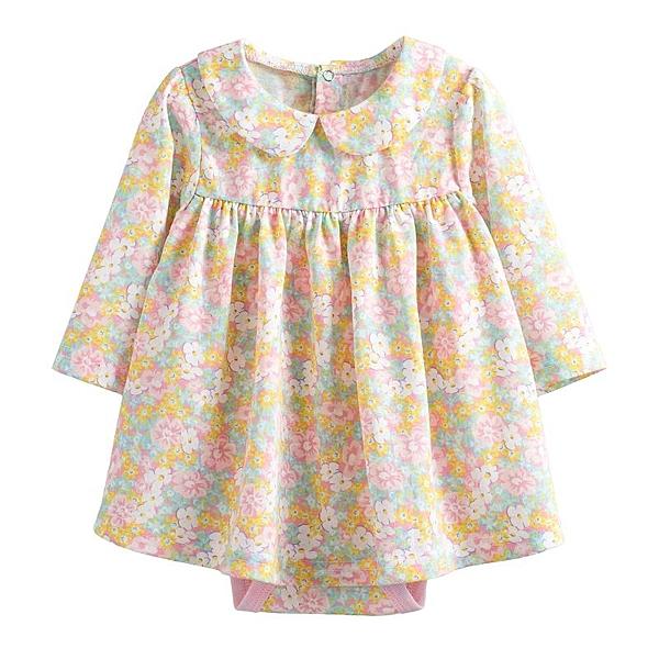 童裝 現貨 純棉荷葉領碎花款裙式連身衣-B款黃花【10243】
