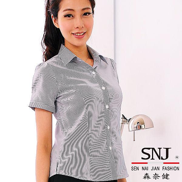 【S-43EH】森奈健-優雅成熟OL吸濕排汗斜門襟短袖女襯衫(黑色條紋)