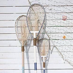 地中海風格 實木帶貝殼小網兜