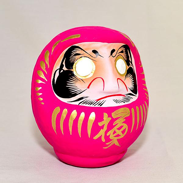日本製 心願成就 開運 彩繪 達摩 福神 不倒翁  群馬縣高崎生產 桃色 桃花運戀愛運增強