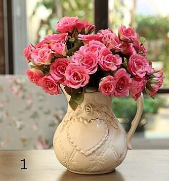 伊麗莎白法式陶瓷奶壺花瓶花器 餐桌擺設 整體花藝套裝-oakm20015