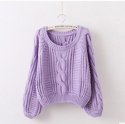 冬季女裝新款 套頭毛衣女加厚粗線燈籠袖寬鬆短款