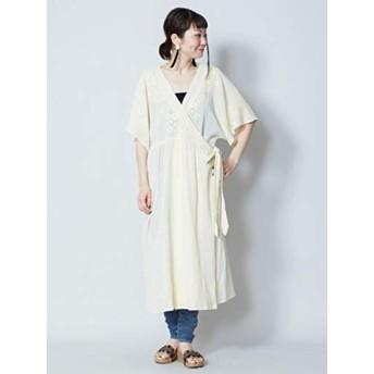 【チャイハネ】刺繍カシュクールワンピース IDS-9203 FREE ホワイト