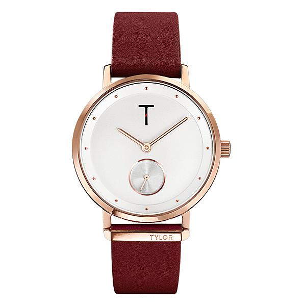 TYLOR  夢想時尚T字時刻腕錶-酒紅色