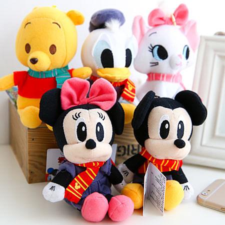 正版迪士尼珠鍊娃娃(圍巾款) 吊飾 鑰匙圈 米奇 米妮  維尼 唐老鴨 瑪麗貓 掛飾 小娃娃 布偶 玩偶