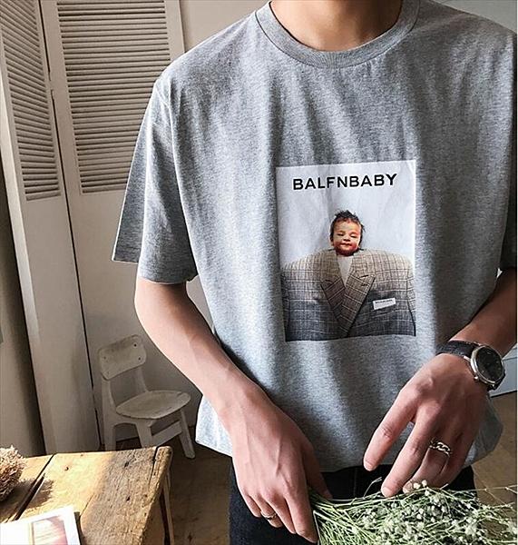 找到自己品牌 時尚潮流 男 寬鬆 嬰兒BABY印花 短袖T恤 圓領T恤