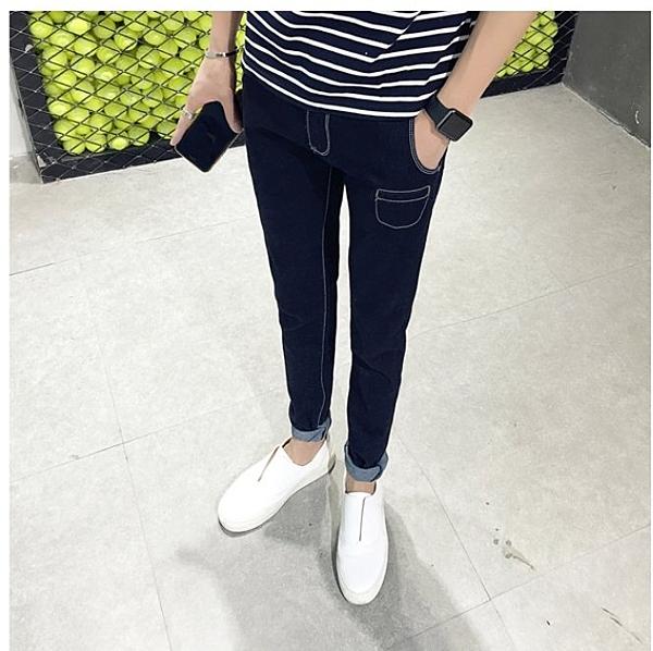 找到自己品牌 新款 純色 裝飾 牛仔褲 男生 小口袋時尚小腳褲